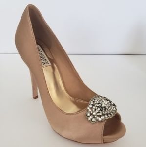 Badgley Mischka Goodie peep-toe gold pump
